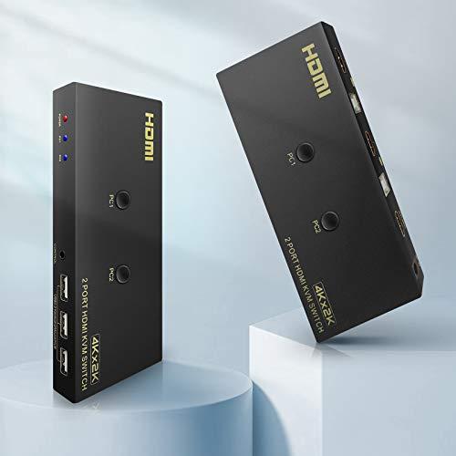 KVM HDMI Switch 4k@60Hz Ippinkan USB 2 Port KVM Schalter Tastatur Maus Umschalter Box kompatibel mit Win7 / 8/10 / XP/Vista, Mac-System, PS4, Spielekonsole