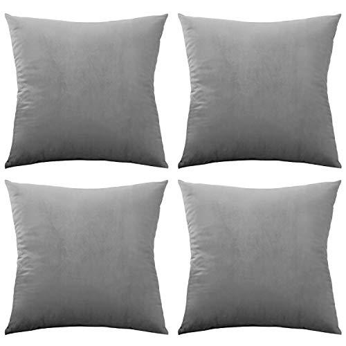 Rose Home Fashion 4 Pack Velvet Cushion Covers 16 X 16 INCH (40 X 40 CM), Square Decorative Throw Pillowcases for Livingroom Sofa or Bedroom, Grey