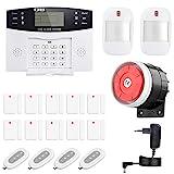 Thustand Sistema Alarma GSM Inalámbrico Control Remoto por Call/SMS - Kit Alarma Antirrobo Casa DIY con Sensor Puerta/Detector Movimiento PIR/Mando a Distancia para Hogar/Tienda