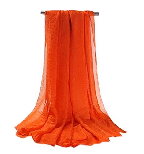 Doux longue en mousseline de soie Foulard Châle pour femme, Mesdames et filles (Orange)