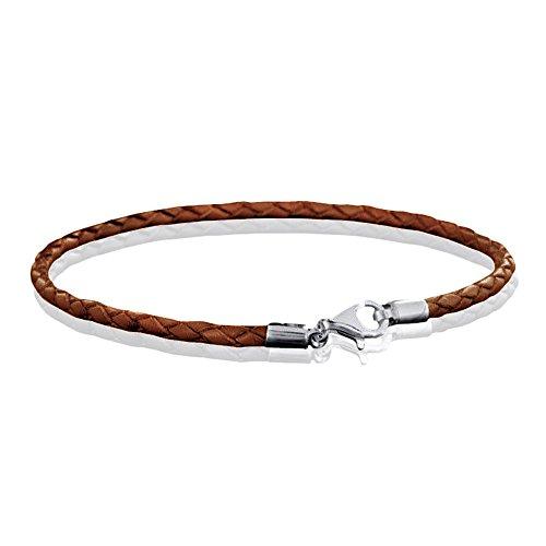MATERIA 925 Silber Beads Armband Herren Damen - Leder Armband Karabiner braun 18-22cm #A56, Länge:21 cm