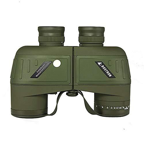 Vioaplem Prismáticos Militares Impermeable Profesional De La Marina Binocular Telémetro Y Compás del Ocular De Enfoque (Color : 7X50 No Compass)