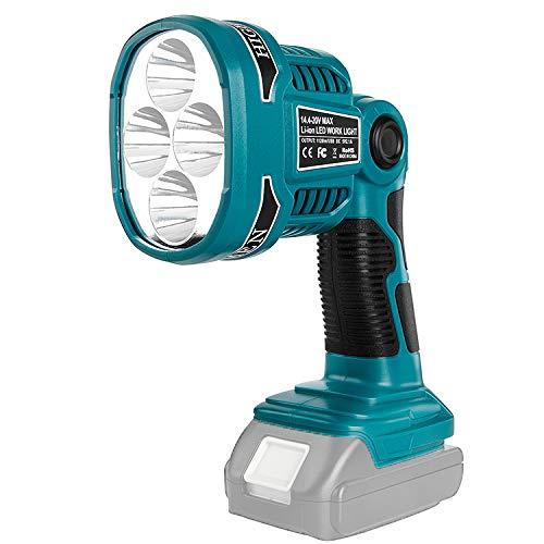 Lámpara LED para exteriores Makita de larga distancia para batería Makita 14,4 V-20 V para batería de litio Makita 18 V (pistola de 12 W tipo 4 velocidades ajustables, 4ª marchas, intermitente rojo)