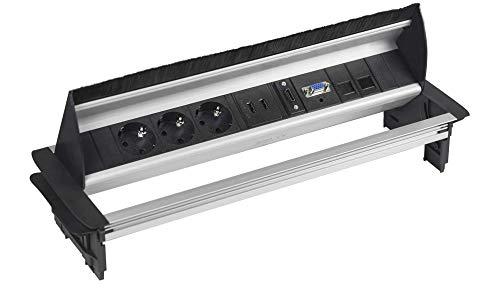 Elbe Inno Versenkbare Tischsteckdose mit 2xUSB, Einbausteckdose mit HDMI- & VGA-Buchse, Steckdosenleiste mit 2xRJ45 Netzwerkdose, 3,5mm Audiobuchse, 1,5m Kabel, für Büro, Konferenzzimmer EL4403AA