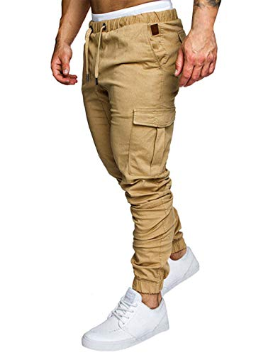 ZNU Mens Slim Fit Stretch Jogger Cargo Pants Casual Outdoor Fitness Sweatpants with Pockets Khaki