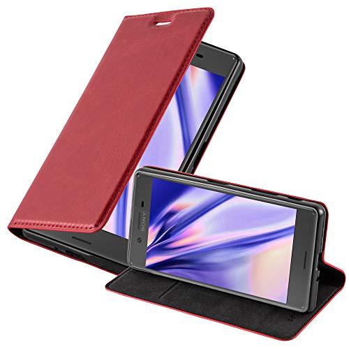 Cadorabo Hülle für Sony Xperia X - Hülle in Apfel ROT – Handyhülle mit Magnetverschluss, Standfunktion & Kartenfach - Hülle Cover Schutzhülle Etui Tasche Book Klapp Style