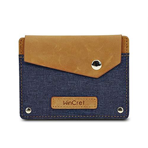 WinCret Porta Carte di Credito da Uomo schermato RFID in Pelle e Denim - Piccolo Sottile Portafoglio Uomo, Porta Carte di Credito, Monete e Banconote