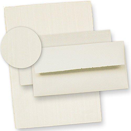 Echt Bütten-Papier Briefpapier wildgerippt (20 Sets) 115 g/qm ca. A4, hochwertig, gefütterte Büttenumschläge