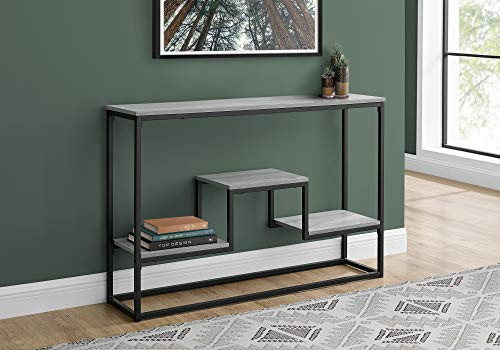 Monarch Specialties Entryway Hallway Sofa Accent 3 Storage Shelves for Livingroom Long Narrow Console Table, 48' L, Grey