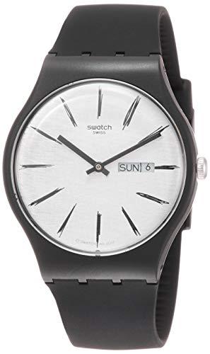 Swatch Unisex Erwachsene Analog Quarz Uhr mit Silikon Armband SUOB726