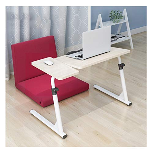 YLYWCG Side Table Portable Folding Laptop Desk, Lap Standing Desk,Adjustable Laptop Desk,Foldable Bed Tray Lap Desk,Notebook Stand Reading Interior Furniture (Color : White Maple+Mouse Board)