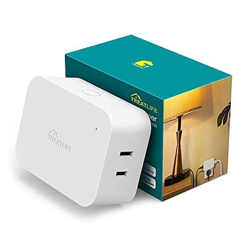 Alexa Smart Dimmer Plug, Treatlife Plug-in Lamp Dimmer Switch for Dimmable LED, CFL, Halogen and Incandescent Bulbs, Lamps, String Lights, Max Power 300W, Dual Outlets, 2.4GHz WiFi Only