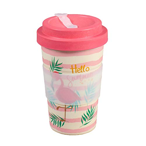 Thermo Rex Bamboo Cup Flamingo 350ml | Bambus Becher Flamingo Design | Rosa Flamingo Becher | Idealer Teebecher & Coffee to go Becher | Pappbecher Alternative | Wichtelgeschenk