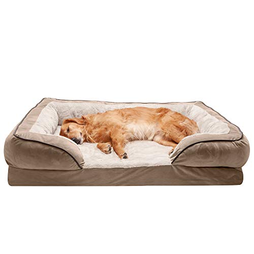 Furhaven Pet Dog Bed - Cooling Gel Memory Foam Velvet Waves Perfect Comfort Traditional Sofa-Style Living Room Couch Pet Bed with Removable Cover for Dogs and Cats, Brownstone, Jumbo