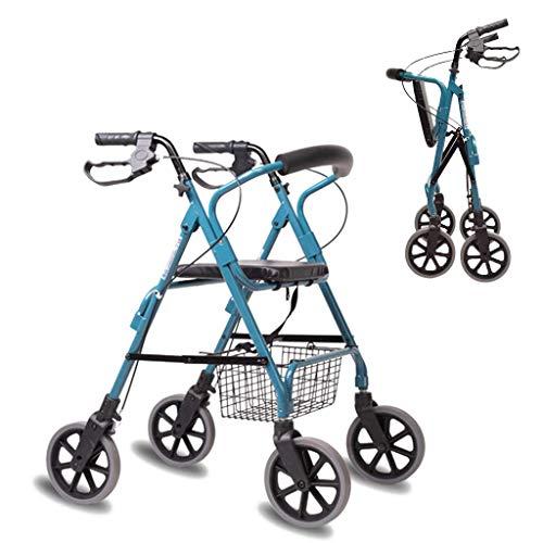 GEHHILFEAID Opvouwbare rollatoren, walker, aluminiumlegering, met zitting voor ouderen, winkelwagen, rollator, loophulp, 4 wielen, buiten, in hoogte verstelbaar