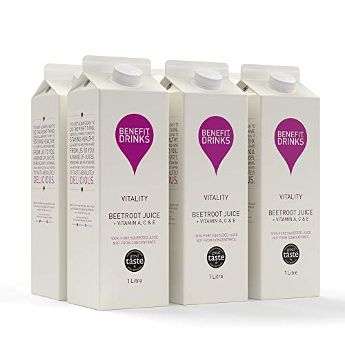 Benefit Drinks Vitality Beetroot Juice with Vitamin A, C and E - 6 x 1L Pack - Beet Detox Juice - Great Taste Award
