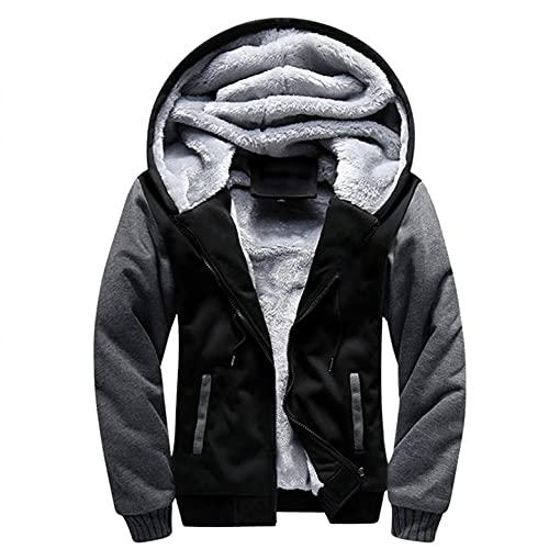 RYTEJFES Sudadera con capucha de invierno para hombre con cremallera, forro polar, sudadera con capucha, sudadera con capucha, suéter de invierno, gruesa chaqueta de forro polar, Negro , L