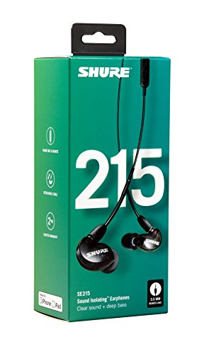 Shure SE215-K-UNI Sound Isolating Earphones with Inline Remote & Mic for iOS/Android