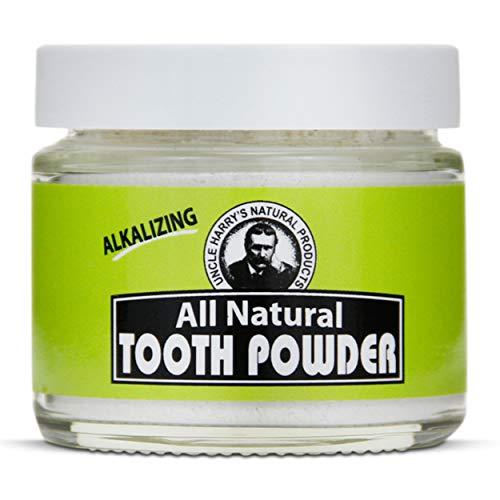 Uncle Harry's Alkalizing Tooth Powder   All Natural Remineralizing Enamel Support & Whitening Toothpaste for Sensitive Teeth   Organic Powder Toothpaste for Gum Health & Fresh Breath (2 oz)