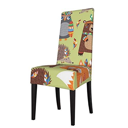 Fundas para sillas con Estampado elástico de animación Indios para sillas, Fundas para sillas Lavables, Protector, Funda de Asiento para sillas