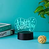 3D Night Light Acrylic Sheets,Clear Acrylic Base Light Sign,4mm Plastic Plexi Glass Board w/Protective Paper for LED Light Base (Happy Birthday)