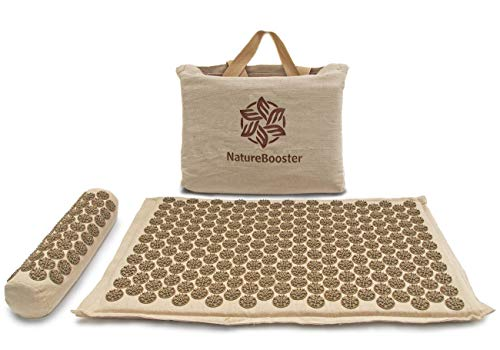 NatureBooster Coconut Fiber Acupressure Mat and Exclusive Cervical Pillow Set for Back Pain Sciatica Neck Pain and Migraine Relief