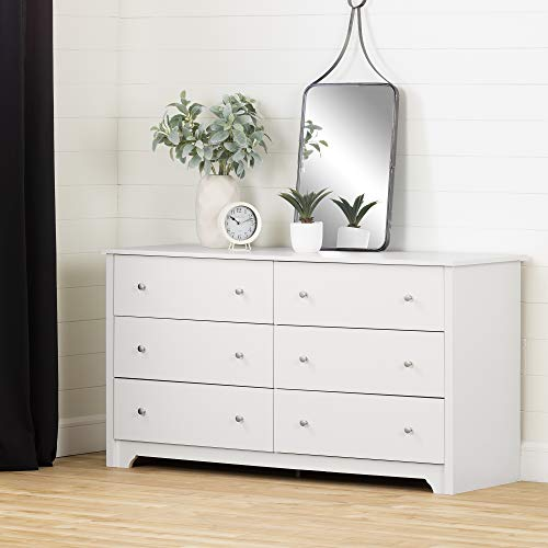 Hot Sale South Shore Vito Collection 6-Drawer Double Dresser, Pure White