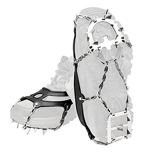 xianghaoshun Cadena de crampones de 18 Clavos, Agarre para la Nieve con tracción en el Hielo Cubierta Antideslizante para Zapatos, Clavija para Hielo de tracción para Caminar Crampones con Clavos