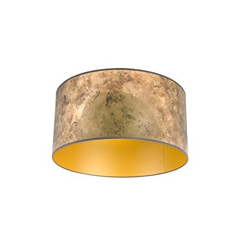 QAZQA Lampenkap brons 50/50/25 met gouden binnenkant, Rond recht hang kap,staande kap