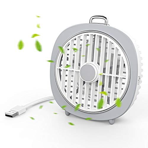 Lecone Mini USB-Tischventilator 5-Zoll-360-Grad-Rotationslüfterabdeckung 3 Geschwindigkeiten Schreibtisch Tragbarer Lüfter mit LED-Licht Leistungsstarker Luftstrom Leiser Betrieb (weiß)