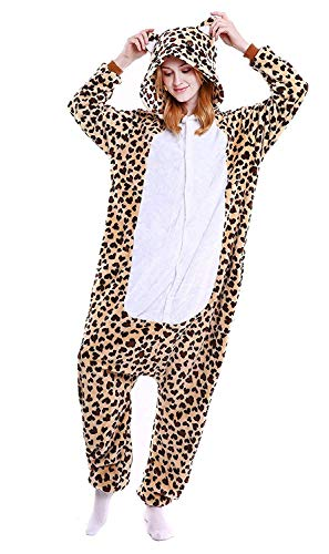 ABYED Adulte Unisexe Anime Animal Costume Cosplay Combinaison Pyjama Outfit Nuit Vetements Onesie Fleece Halloween Costume Soiree de Deguisements, Leopard Ours, XL(175-181CM)