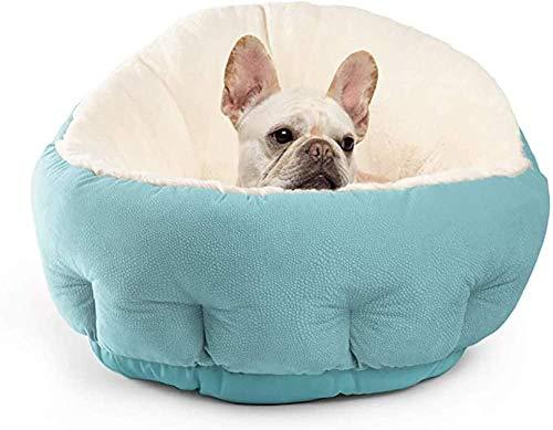 Bett für Hunde und Katzen Haustiere Warmes weiches rundes Kissen-Blau
