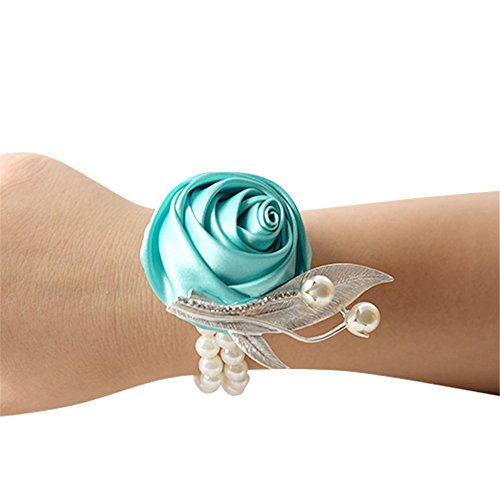 MOJUN Bridal Bridesmaid Wedding Wrist Corsage Party Prom Girls Satin Rose Hand Flower Decor, Pack of 6, Turquoise