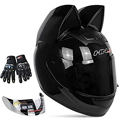 Personalized Cool Cat Ear Electric Motorcycle Helmet Winter Full Helmet Men and Women Racing Shaped Motorcycle Helmet,Black,L by kuaifly