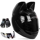 Kuaifly Personalized Cool Cat Ear Electric Motorcycle Helmet Winter Full Helmet Men and Women Racing Shaped Motorcycle Helmet,Black,M