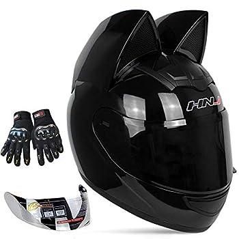 Personalized Cool Cat Ear Electric Motorcycle Helmet Winter Full Helmet Men and Women Racing Shaped Motorcycle Helmet,Black,L