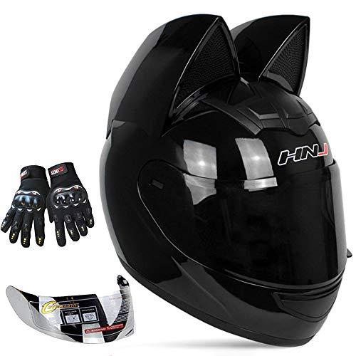 Personalized Cool Cat Ear Electric Motorcycle Helmet Winter Full Helmet Men and Women Racing Shaped Motorcycle Helmet,Black,M