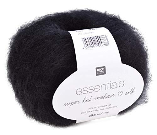 Rico Essentials Super Kid Mohair loves Silk, Fb. 007 – schwarz, Lacegarn aus Super Kid Mohair & Seide zum Stricken und Häkeln, Lacewolle Nadelstärke 4,5 mm