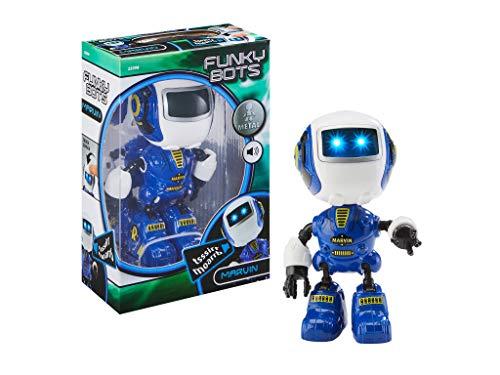 Revell Control 23398 Funky Bot Marvin, Kleiner Roboter zum Spielen und Liebhaben, mit vielen lustigen Sounds Mini Roboterfigur aus Metall, blau
