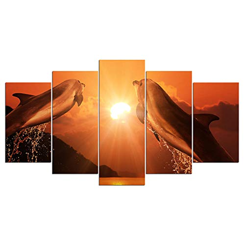 ZNNHERO Leinwanddrucke HD Print 5 Stück Leinwand Kunst springen Paar Delfine im Sonnenuntergang große Leinwand Wand Kunst Malerei Poster Drucke auf Leinwand Rahmen