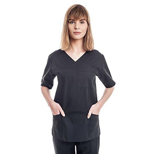 Schwarz Kasacks Damen Pflege - 7 Berufsbekleidung Pflegegrößen (XS-3XL), Perfekt Als Krankenschwester Berufskleidung Kittel, Medizin Kleidung, Altenpflege Uniform, Krankenhaus Schlupfjacke, Kassak