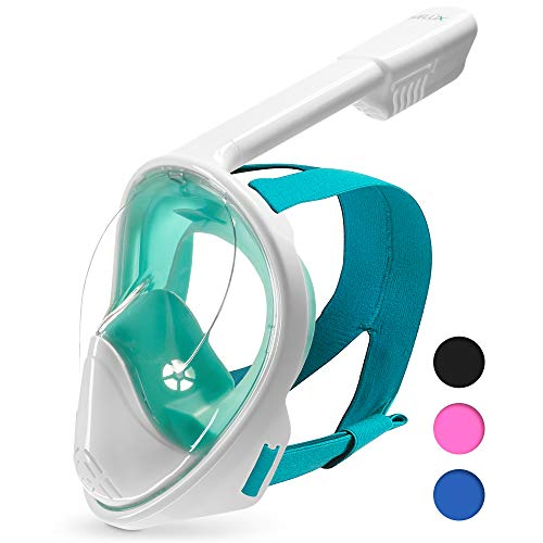DIVELUX Full Face Snorkel Mask - Anti Fog & Anti Leak Technology | Seaview 180 Degree Panoramic Snorkel for Adult and Youth with Gifts: Waterproof Case and E-Book, (Green, S/M)