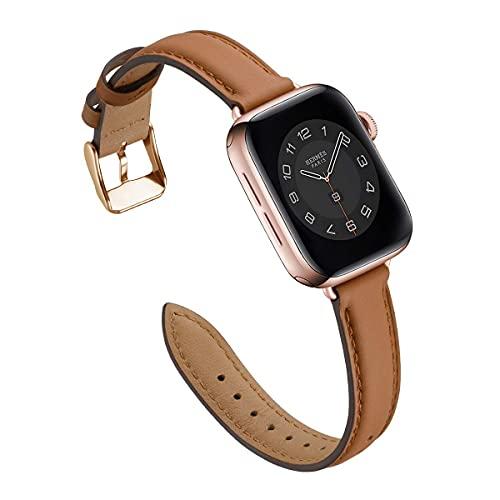 Correa de reloj de 40 mm, 44 mm, 38 mm, 42 mm, correa de repuesto de cuero suave para iWatch Series SE 6, 5, 4, 3, 2, 1, para mujeres y hombres (42 mm, 44 mm, marrón/oro rosa)