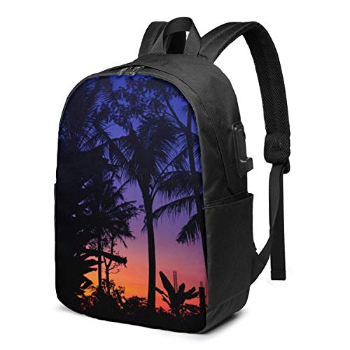 IUBBKI Silhouette of Palm Tree Mochila para computadora portátil con Puerto de Carga USB Mochilas para computadora de Viaje de 17 Pulgadas para Mujeres Hombres Escuela Coll