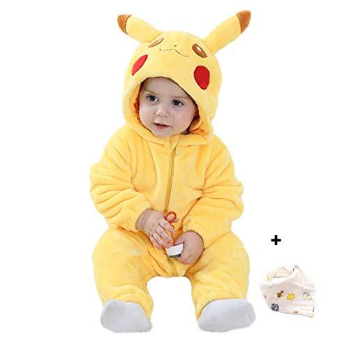 Bebé Ropa Disfraces Franela Traje Animales Pelele Unisexo Disfraz Invierno Kigurumi (Pikachu, 90cm)