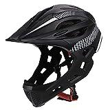 XYL Casco da Bici Kid Protezione facciale Integrale Staccabile Adatto per Bici da Corsa Ciclismo Motocross MTV BMX Traspirante Sicurezza Multicolore,blackandwhite