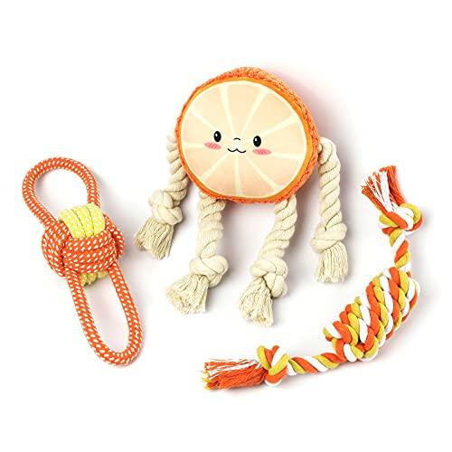 Toozey Welpenspielzeug Hundespielzeug Orange - 3 STK Hundespielzeug Unzerstörbar für Welpen & Kleine - Hundezubehör Hunde Spielsachen Spielzeug Hund Hundespielzeug Set - Natürliche Baumwolle ungiftig