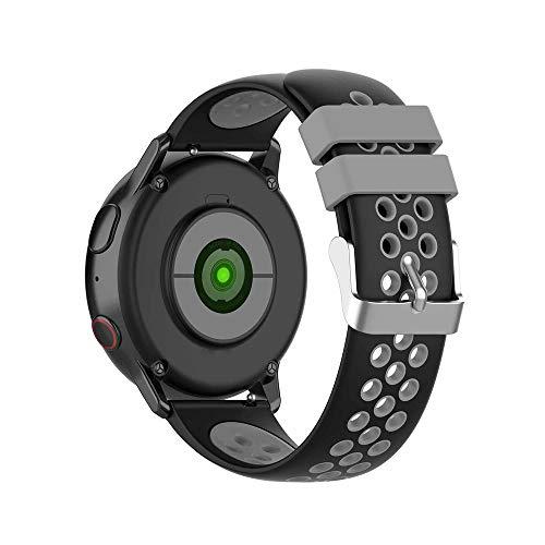 KINOEHOO Correas para relojes con Samsung active/S2 classic, con Garmin vivoactive 3/vivomove HR 20mm Pulseras de repuesto relojesde silicona.(Negro + gris)