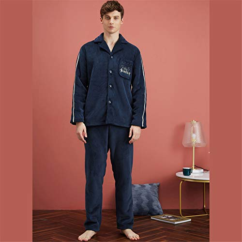 Atecou Herren Langarm Pyjama Set,Button Down Pyjama Set Für Männer,Gemütliche...