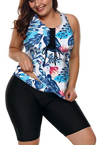 FANGJIN Plus Size Print Design Ganzkörper-Badebekleidung Badeanzug mit großer Brustunterstützung Zweiteilige Outfits Urlaubskleidung sexy Bikini für Frauen Baggy Summer Tops Weiß XXL